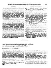 Note préliminaire sur l'épidémiologie de la trichinose des animaux ...