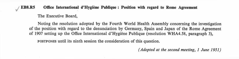 Office International Dhygine Publique Position With Regard To