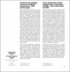 Pneumococcal Conjugate Vaccine For Childhood Immunization Who Position Paper Vaccin Antipneumococcique Conjugue Pour La Vaccination Infantile Note D Information De L Oms