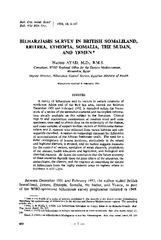Bilharziasis survey in British Somaliland, Eritrea, Ethiopia
