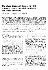 The Global Burden Of Disease In 1990 Summary Results Sensitivity Analysis And Future Directions