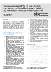 Coronavirus disease (COVID-19) outbreak: rights,roles and responsibilities of health workers, including key considerations for occupational safety and health