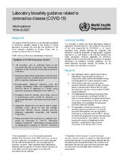 Laboratory biosafety guidance related to coronavirus disease 2019 (COVID-19)
