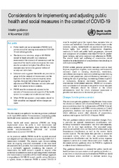 Considerations for implementing and adjusting public health and social measures in the context of COVID-19