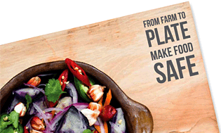 A plate of food with the slogan From farm to plate, make food safe.