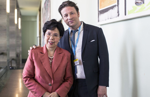 WHO Director-General, Jamie Oliver, British celebrity chef, at the World Health Assembly meeting.